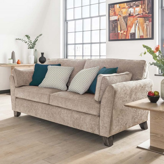 Barresi Chenille Fabric Three Seater Sofa In Almond Finish_1
