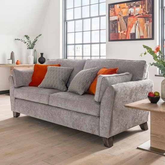 Barresi Chenille Fabric Three Seater Sofa In Silver Finish
