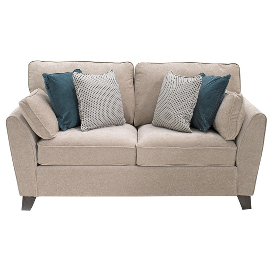 Barresi Chenille Fabric Two Seater Sofa In Almond Finish