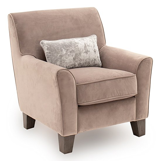 Barresi Fabric Accent Chair In Taupe With Wooden Legs