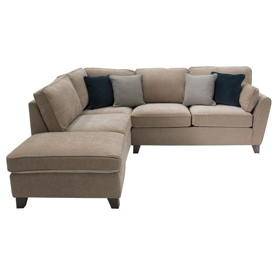 Barresi Chenille Fabric Left Hand Corner Sofa In Almond Finish