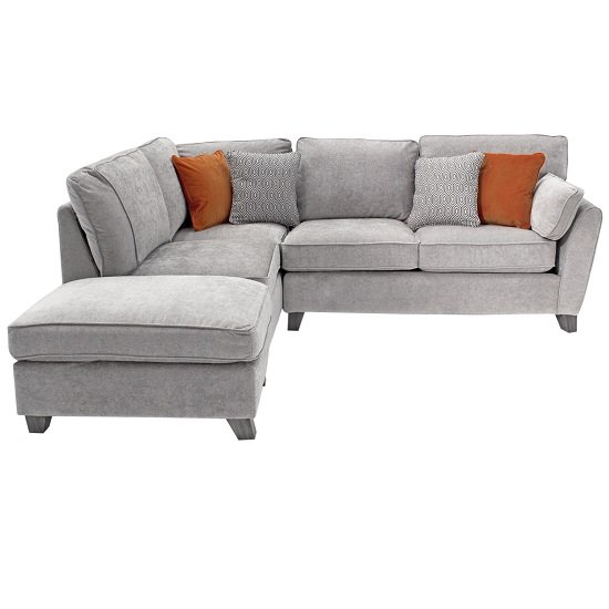 Barresi Chenille Fabric Left Hand Corner Sofa In Silver Finish