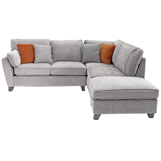 Barresi Chenille Fabric Right Hand Corner Sofa In Silver Finish