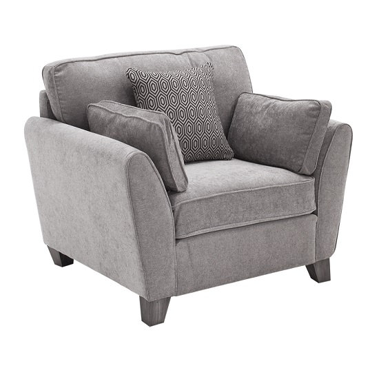 Barresi Fabric Sofa Chair In Silver Finish With Wooden Legs