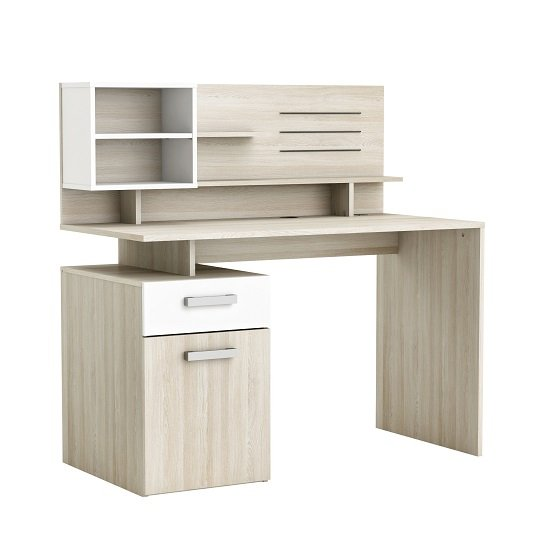 Photo of Barrington computer desk in shannon oak and pearl white