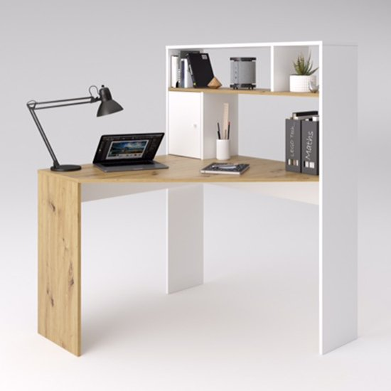 Barrys Wooden Computer Desk In Artisan Oak And White