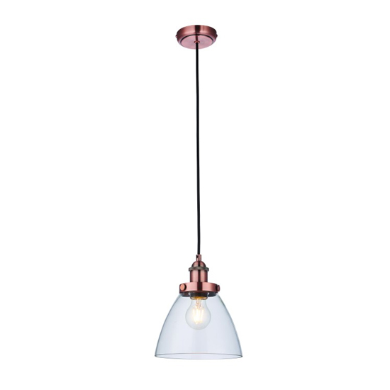 Bartley Wall Hung Pendant Light In Aged Copper