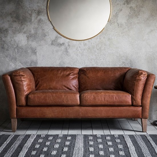 Image of Bartow 2 Seater Sofa In Mellow Brown Leather With Solid Ash Legs