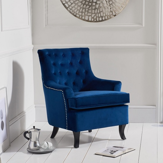 Bartow Modern Accent Chair In Blue Velvet With Black Legs