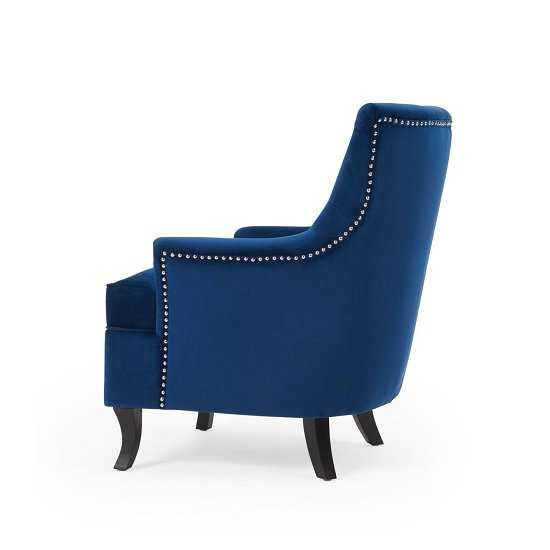 Bartow Modern Accent Chair In Blue Velvet With Black Legs_2