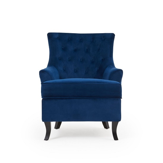 Bartow Modern Accent Chair In Blue Velvet With Black Legs_4