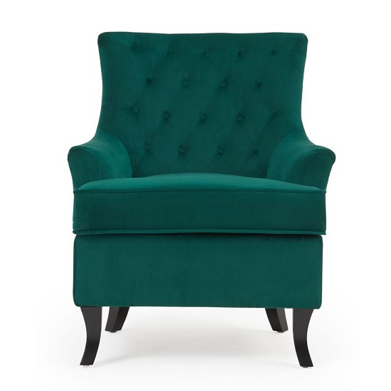 Bartow Modern Accent Chair In Green Velvet With Black Legs