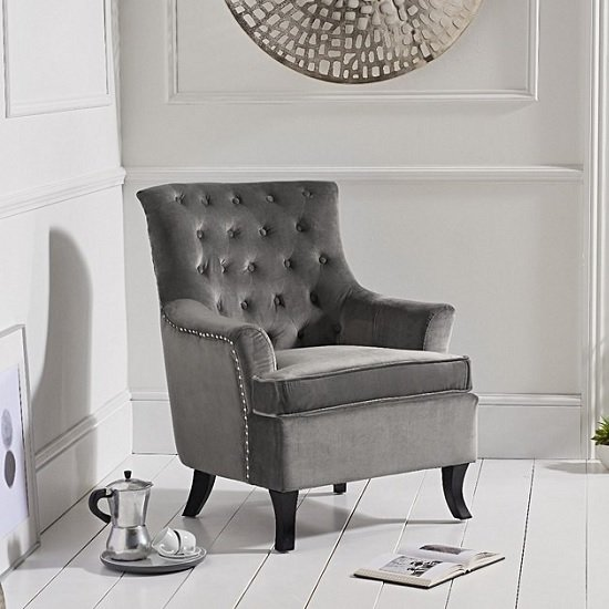 Bartow Modern Accent Chair In Grey Velvet With Black Legs