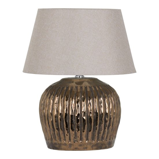 Basil Metallic Ceramic Table Lamp In Bronze With Beige Shade