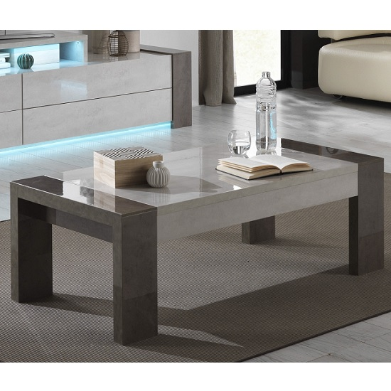 View Basix coffee table in dark and white marble effect gloss