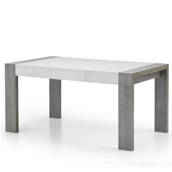 Basix Dining Table In Dark And White Marble Effect Gloss