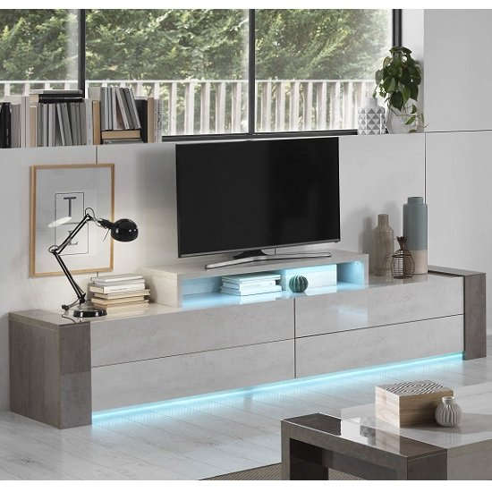 Basix TV Stand Wide In Dark And White Marble Effect Gloss LED_1