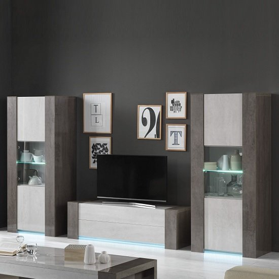 Basix TV Stand In Dark And White Marble Effect Gloss With LED_3