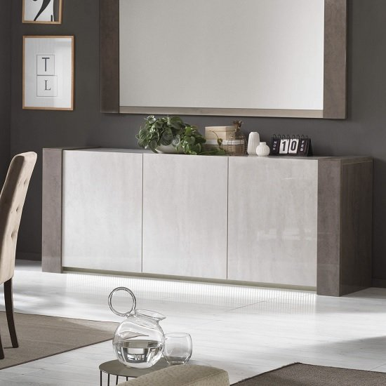 Basix Sideboard In Dark And White Marble Effect Gloss And LED