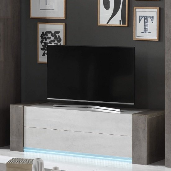 Basix TV Stand In Dark And White Marble Effect Gloss With LED_1