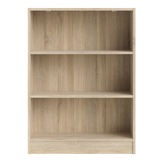Baskon Wooden Low Wide 2 Shelves Bookcase In Oak_2