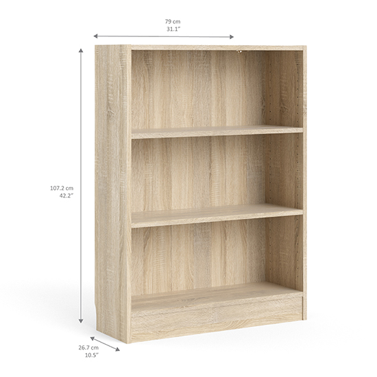 Baskon Wooden Low Wide 2 Shelves Bookcase In Oak_3