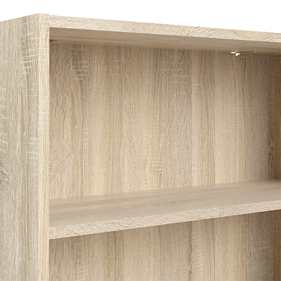 Baskon Wooden Low Wide 2 Shelves Bookcase In Oak_5