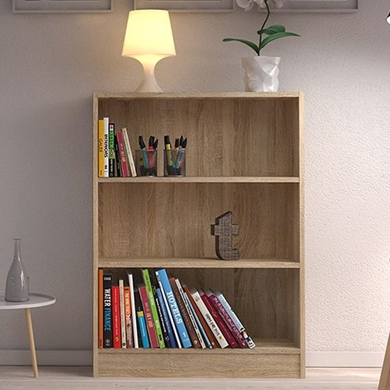 Baskon Wooden Low Wide 2 Shelves Bookcase In Oak_1