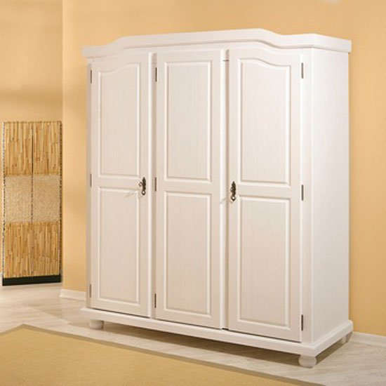 Bastian Wooden Wardrobe In White Painted Finish