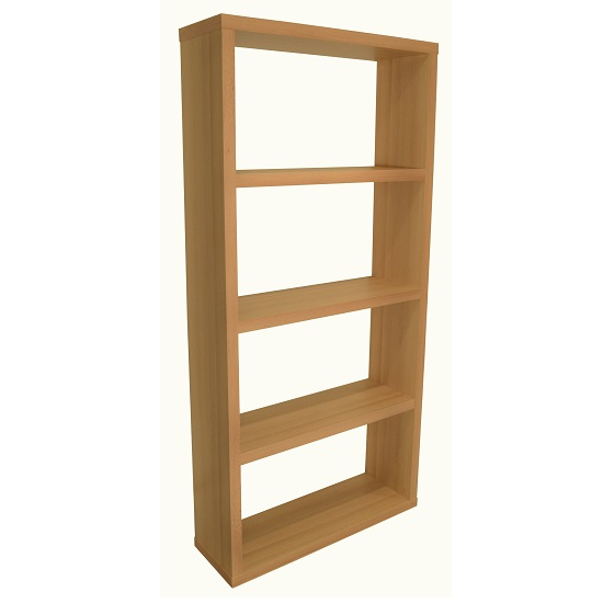 Bastian Wooden Wide Bookcase In Beech With 3 Shelf
