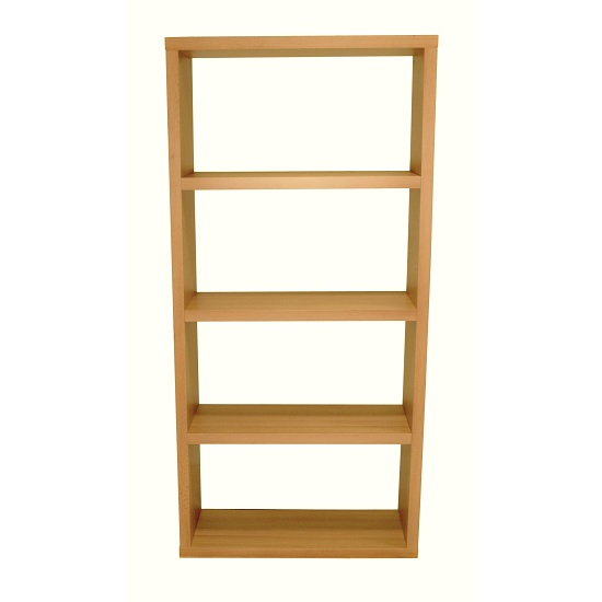 Bastian Wooden Wide Bookcase In Beech With 3 Shelf_2