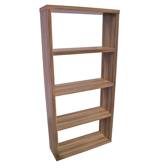 Bastian Wooden Wide Bookcase In Walnut With 3 Shelf