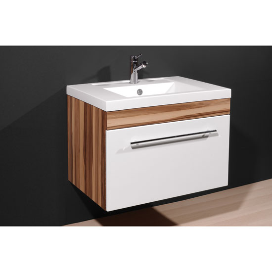 Impuls Baltimore Walnut White Bathroom Vanity With Wash Basin
