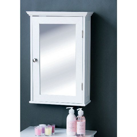 Bathroom cabinet in white wood with a mirrored door for Bathroom mirror cupboard