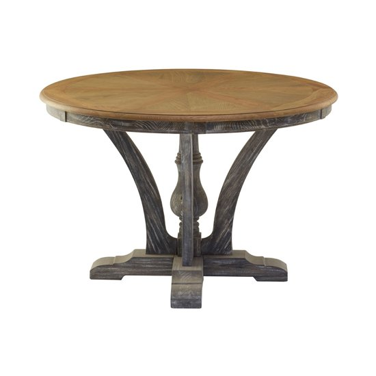 Batovik Round Wooden Dining Table In Grey Weathered