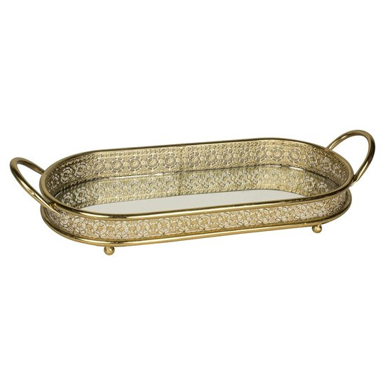 Battles Mirrored Tray In Clear With Antique Gold Frame