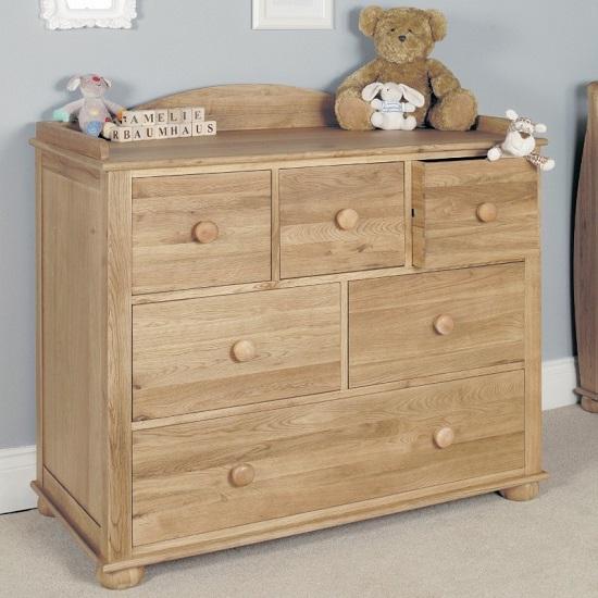 Amila Oak Wooden Childrens Changer cum Chest of Drawers