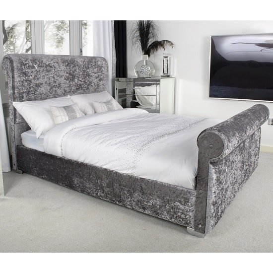 Baxey Double Bed In Crushed Steel Velvet With Chrome Feet_1