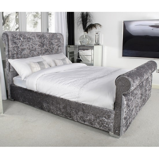 Baxey King Size Bed In Crushed Steel Velvet With Chrome Feet