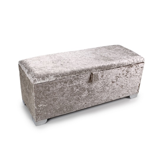 Product photograph showing Baxey Ottoman Large In Crushed Mink Velvet With Chrome Feet