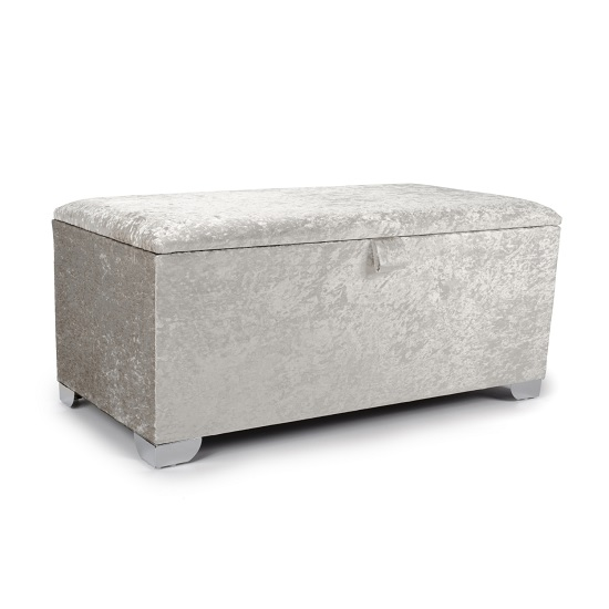 Product photograph showing Baxey Ottoman Large In Crushed Pearl Velvet With Chrome Feet