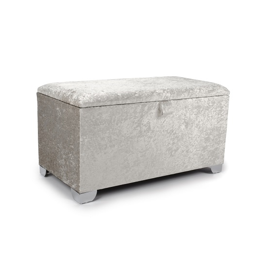 Product photograph showing Baxey Ottoman Small In Crushed Pearl Velvet With Chrome Feet