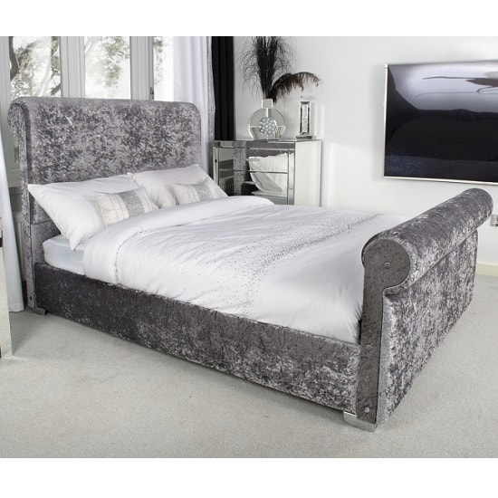 Baxey Single Bed In Crushed Steel Velvet With Chrome Feet