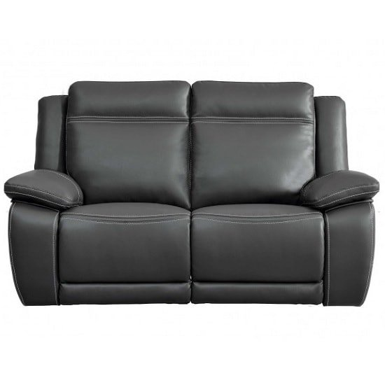 Baxter Recliner 2 Seater Sofa In Dark Grey Leather Air Fabric
