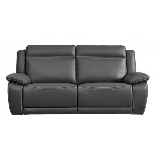 Baxter Recliner 3 Seater Sofa In Dark Grey Leather Air Fabric