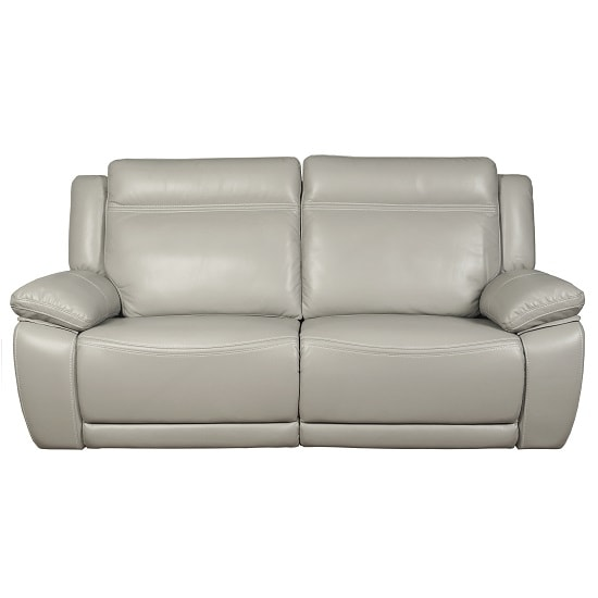 Baxter Recliner 3 Seater Sofa In Light Grey Leather Air Fabric_1