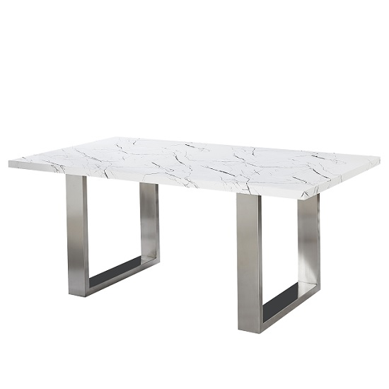 Baxter Dining Table Rectangular In Gloss White Marble Finish