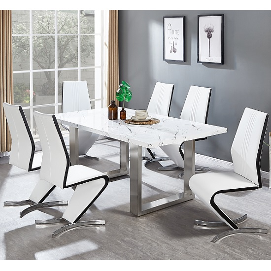 Baxter Dining Table In Gloss White Marble Finish 6 Gia Chairs