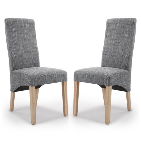 Baxter Grey Wave Back Tweed Dining Chair In A Pair