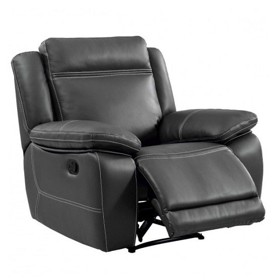 Baxter Recliner Sofa Chair In Dark Grey Leather Air Fabric